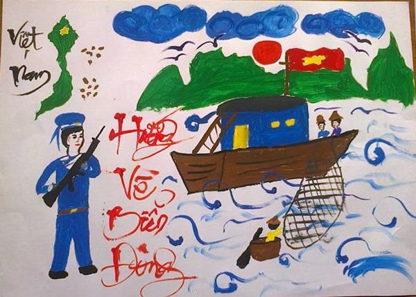 Tranh của các em học sinh tại hội thi vẽ tranh